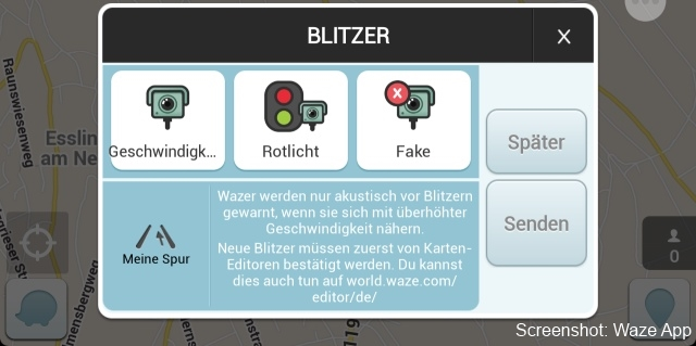 Screenshot Waze App