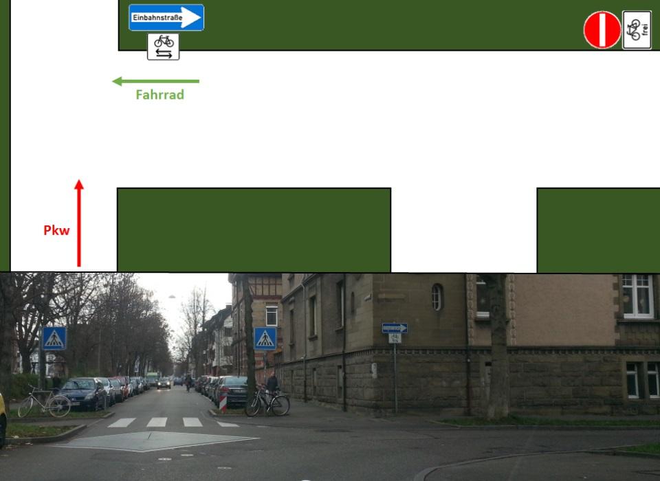Kreuzung rechts vor links, Fahrrad