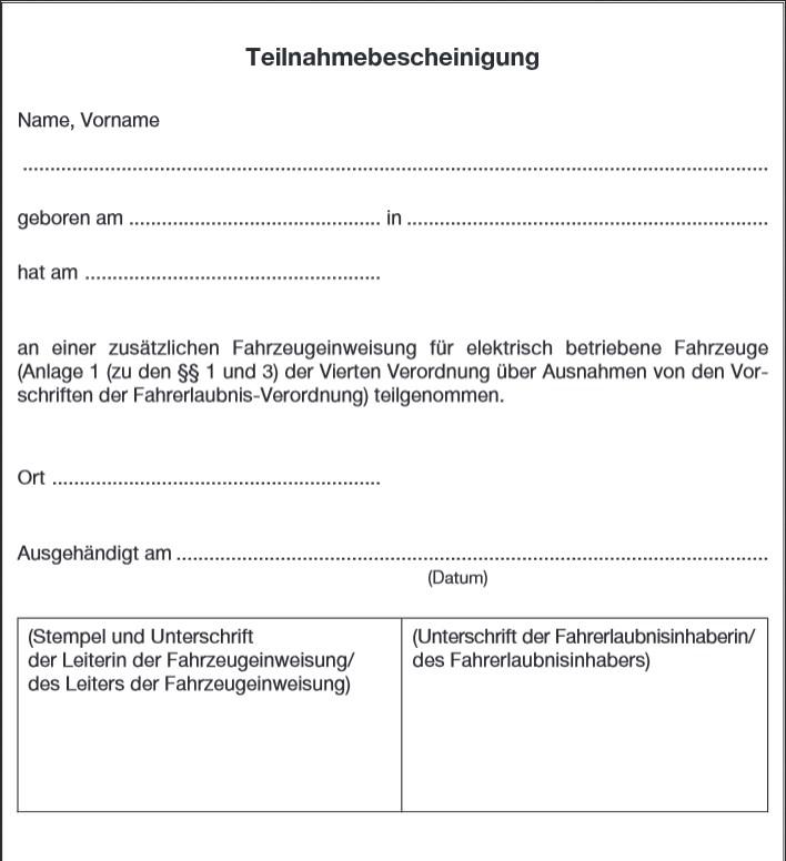 Muster einer Bestätigung über die Teilnahme an der zusätzlichen Fahrzeugeinweisung