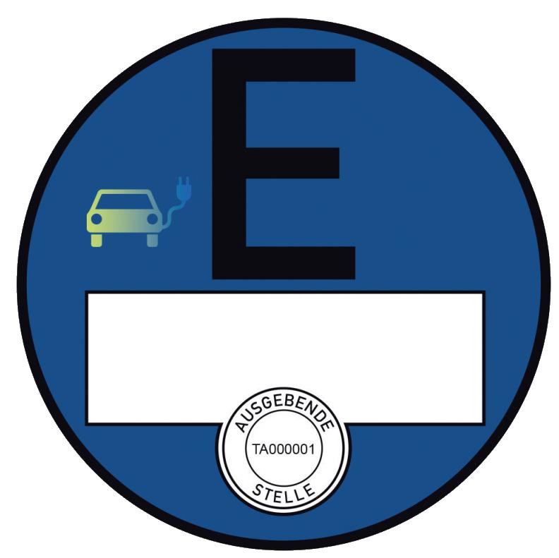 Plakettenmuster für elektrisch betriebene Fahrzeuge